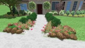 Sol Vida Landscaping design of custom masonry stonework for front entryway with flower bed borders and Moss rock boulders.