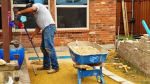 Outdoor Living Space Contractor Building a Stone Patio